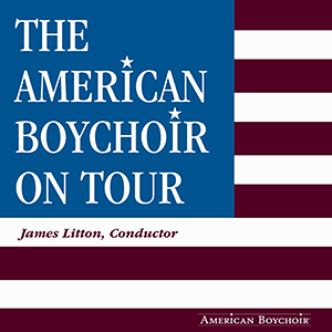 "american flag with ""The American Boychoir On Tour"" where the stars would be."